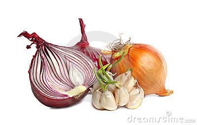 Bulbs of garlic and red onion