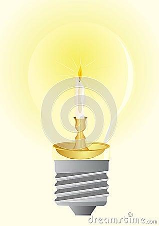 Bulbs and wax candle