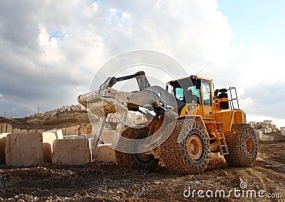 Buldozer in quarry