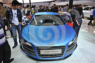 Bule audi r8 china edition front Editorial Image