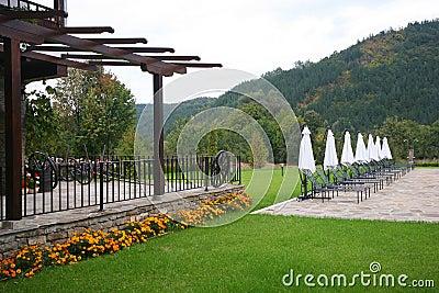 Bulgarian hotel backyard