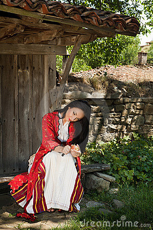 Bulgarian woman in national costume