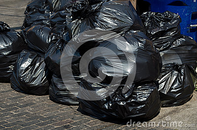 Bags of trash piled up