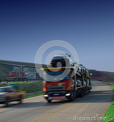 Bulk car haulage truck on highway