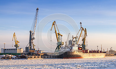 Bulk cargo ship loading with cranes