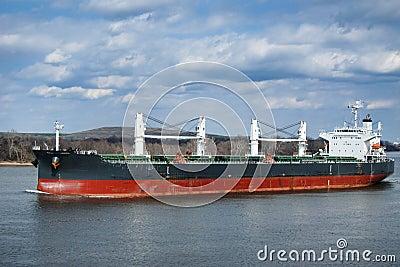 Bulk Carrier Cargo Ship Boat Sailing on River