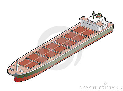 Bulk Carrier Ship Icon. Design Elements 41d