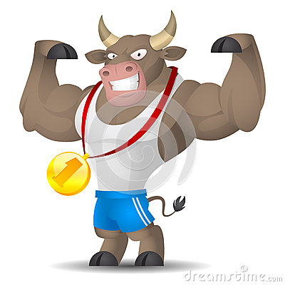 Bull athlete shows muscles
