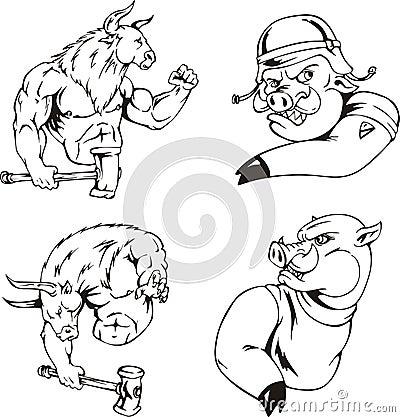 Bull and boar mascots