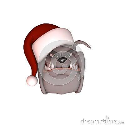 Bull Dog Wearing Santa Hat
