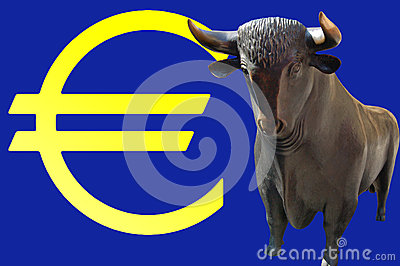 Bull and euro sign