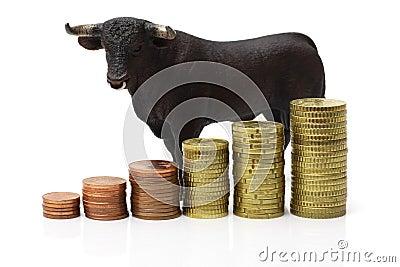 Bull market on stock exchange