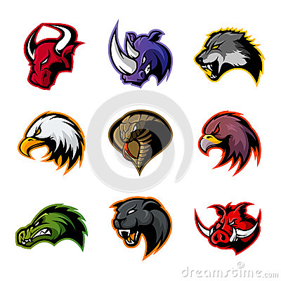 Free Bull, Rhino, Wolf, Eagle, Cobra, Alligator, Panther, Boar Head Isolated Vector Logo Concept. Stock Images - 94139004