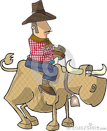 Bull rider Cartoon Illustration