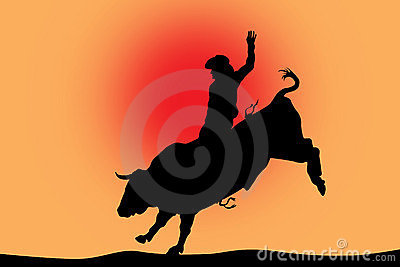 Bull riding black silhouette on red