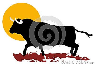 Bull and sun