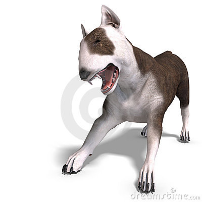 Bull Terrier Dog. 3D rendering with clipping path