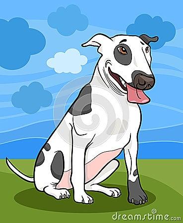 Bull terrier dog cartoon illustration