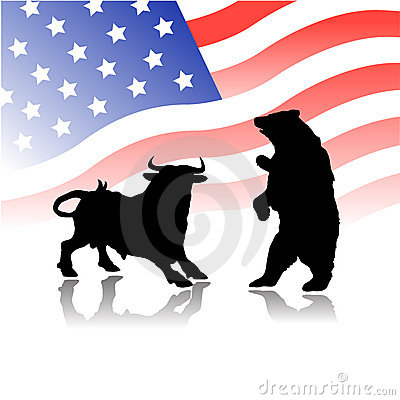 Bull versus bear wall street market Editorial Stock Image