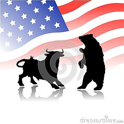 Free Bull Versus Bear Wall Street Market Stock Images - 7954284