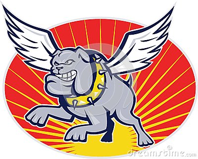 Bulldog mongrel dog with wings flying