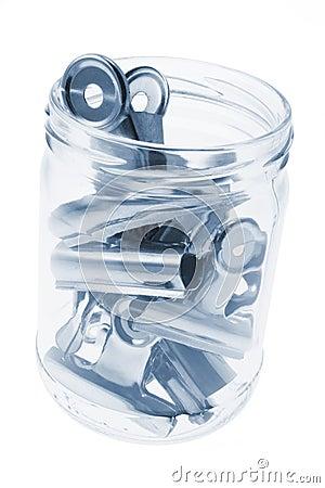 Bulldog Paper Clips in Glass Jar