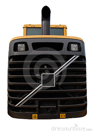 Bulldozer close up of grill, isolated
