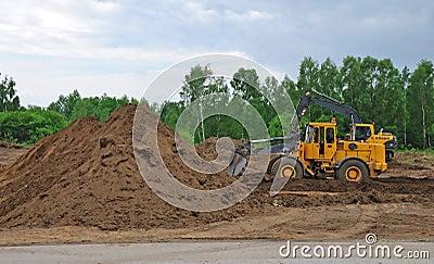 Bulldozer and digger