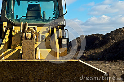 Bulldozer and dirt on contruction site