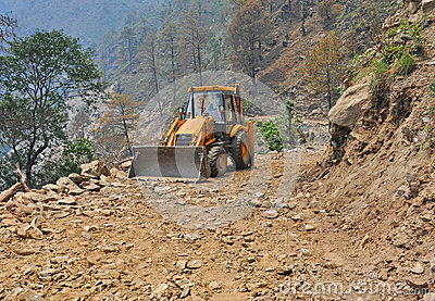 Bulldozer on mountain road