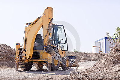 Bulldozer on road
