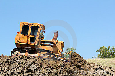 Bulldozer on road construction