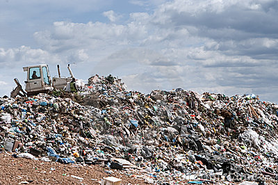 Bulldozer work at the landfill