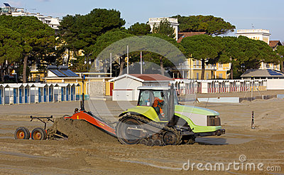 Bulldozers at Work on a Beach