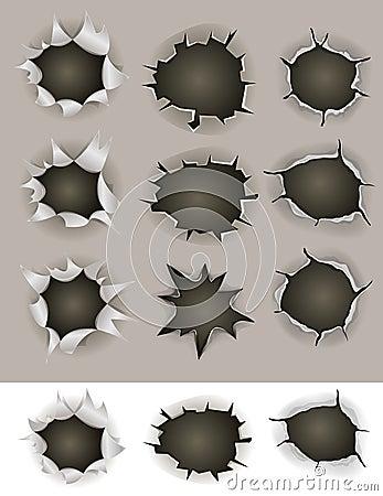 Free Bullet And Shotgun Holes Set Royalty Free Stock Photography - 40266227