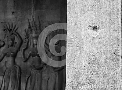Bullet hole at Angkor Wat
