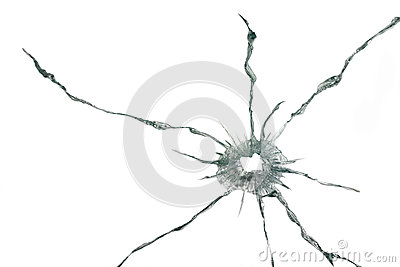 Bullet hole in a thick glass