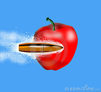 Bullet penetrating an apple