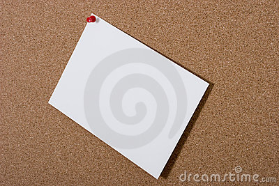 Bulletin board with blank card
