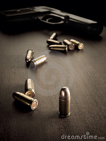 Bullets and handgun
