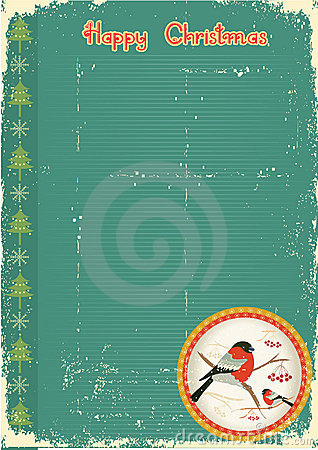 Bullfinches in winter.Vintage christmas card