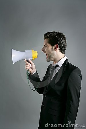 Bullhorn businessman megaphone profile shouting
