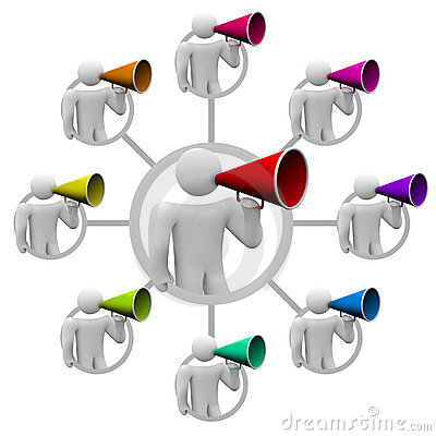 Free Bullhorn People Spreading The Word Royalty Free Stock Image - 19405356