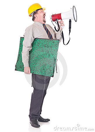 Bullying foreman shouting thr megaphone