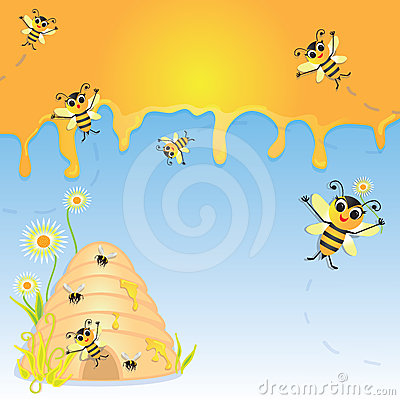 Bumble bee party invitation with hive