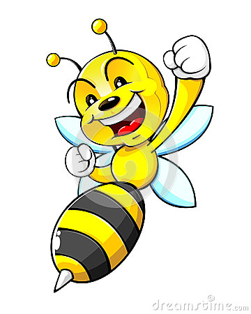 Happy Bumblebee Cartoon Character