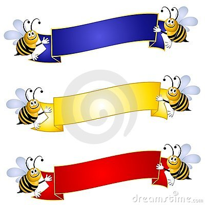 Bumblebees Holding Banners