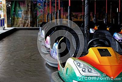 Bumper cars at fun fair