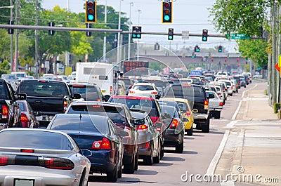 Traffic lights with rush hour traffic jam