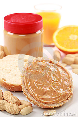 Bun with peanut butter